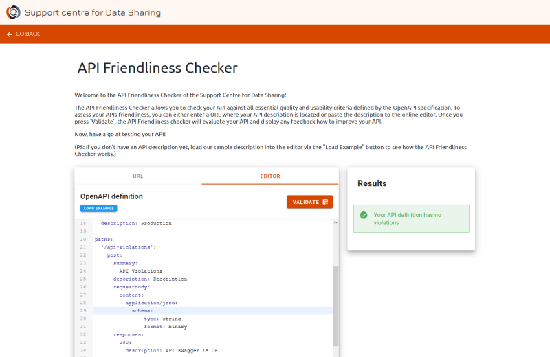 Screenshot of the API Friendliness Checker