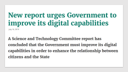 New report urges Government to improve its digital capabilities