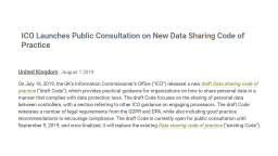 ICO launches public consultation on new data sharing code of practice