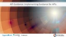API Guidance: Implementation Guidance for APIs