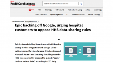 Epic Systems urges customers to oppose HHS data sharing rules
